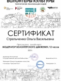Сертификат Стрельченко .О В. волонтеры
