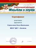 """Сертификат """"Штыком-и-пером"""" Стрельченко Ольга"""